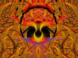 Skull. Graphic Design. Magic energy multicolored fractal. 3D rendering.