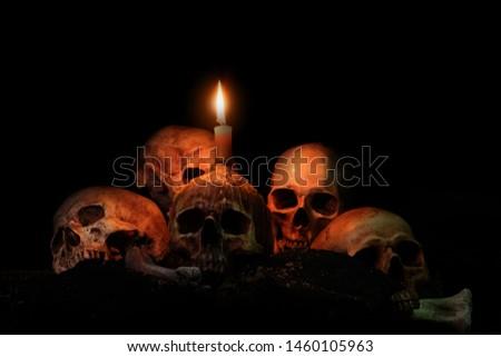 Skull head with candle lights set on skulls and black background / stills life image