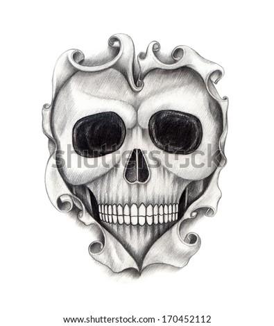 Drawings Of Hearts And Skulls Skull Heart Tattoo Hand Drawing