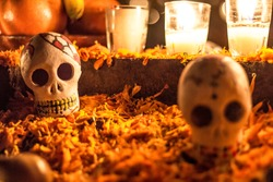 Skull in a cemetery in Janitzio Mexico, day of the dead