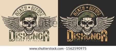 Skull in beret and wings t-shirt print concept. illustration