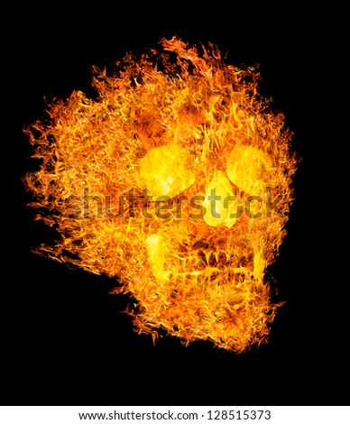 skull in flame isolated on black background