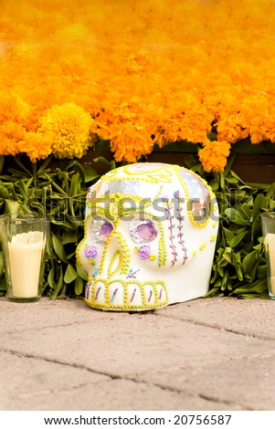 "skull in offering  ""dia de muertos"" death´s day - stock photo"