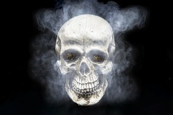 Skull in the smoke on a black background