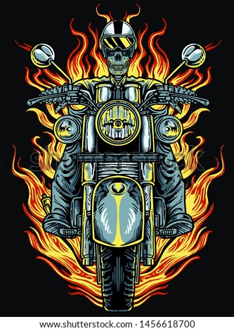 skull motorbike is an illustrated image.