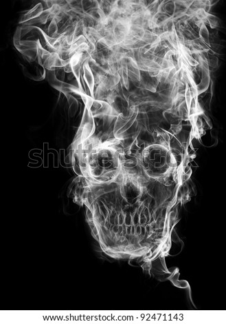 "skull of the smoke. Of smoke formed skull dead, as a symbol of the dangers of smoking to health and imminent death of people. The concept ""smoking kills"". Isolated on a black background"