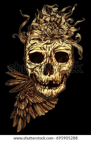 Stock Photo skull - on black