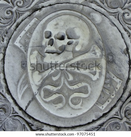 Skull on the cathedral crypt. Pisa. Italy