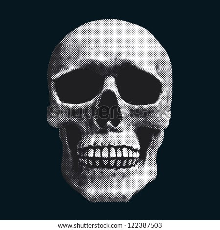 skull screened illustration - stock photo