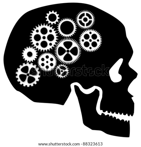 Skull Silhouette with Gears Isolated on White Background Clipart