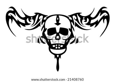 skull tattoo with crown. stock photo : Skull tattoo