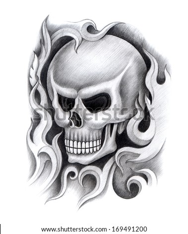 Skull tattoo hand drawing on paper stock photo 169491200 for Drawing tattoos on paper