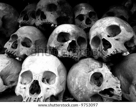 Skull - The Killing Fields of Choeung Ek, Phnom Penh, Cambodia - stock photo