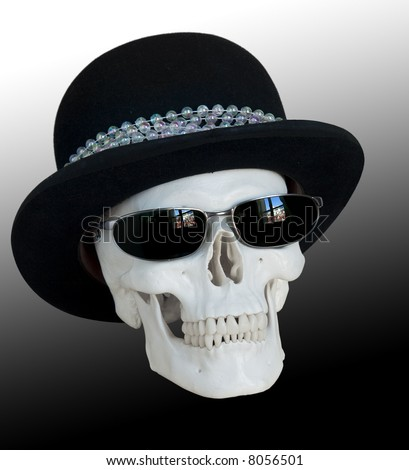 Skull Hat Skull Wearing a Bowler Hat And