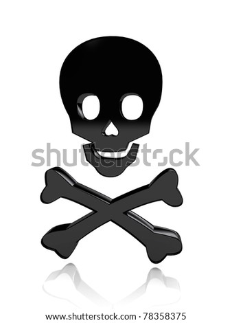 Skull with bones over white background. 3d rendered image - stock photo