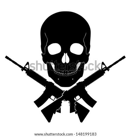 skull with crossed guns/ black white illustration - stock photo