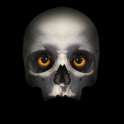 Skull with evil eyes looking to you from deep grave. Picture on Halloweens theme.