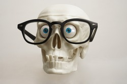 Skull with Glasses on White Background. Chemistry or medical laboratory safety concept with skull wearing plastic lab goggles, safety glasses are used to protect the eyes