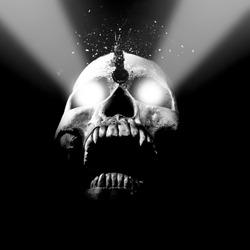 Skull With Glowing Eyes That Has Sharp Teeth