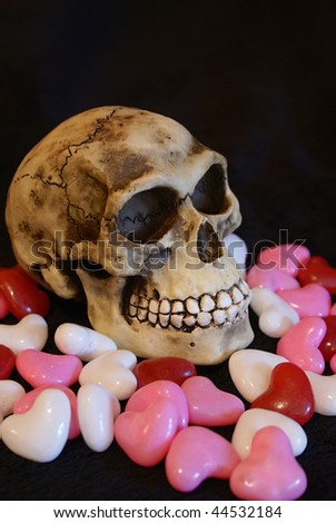 skull with red, pink and white heart candy