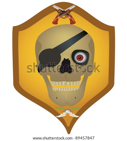 Skull with the crossed pistols and knifes, raster illustration.