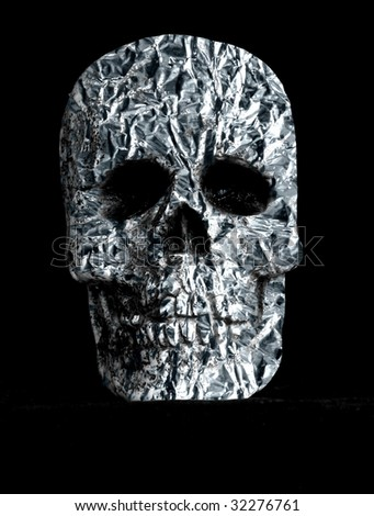 skull with tinfoil texture overlay