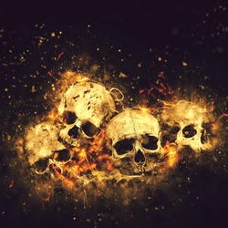 Skulls And Bones as Conceptual Spooky Horror Halloween image.