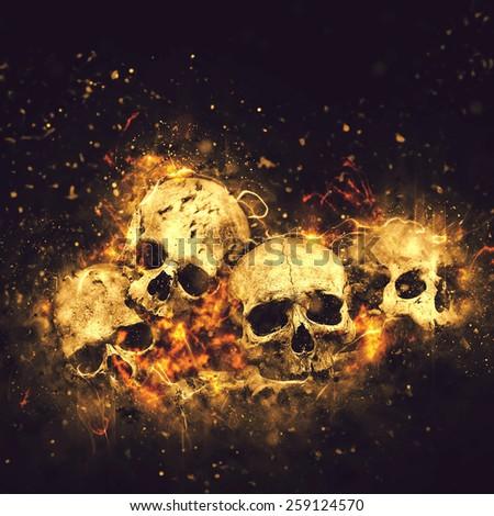 Stock Photo Skulls And Bones as Conceptual Spooky Horror Halloween image.