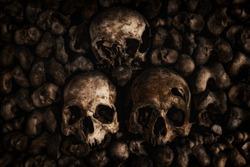 Skulls and bones at Paris catacombs