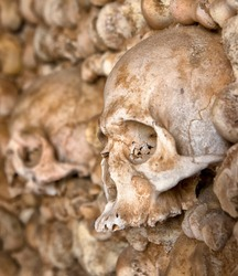 Skulls and bones in Carmo's church in Faro, Portugal