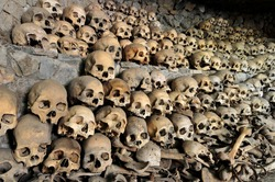 Skulls and bones in Opdas Mass Burial Cave, Benguet, Philippines