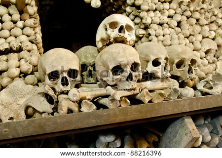 Skulls and bones in the bone chapel in Kutna Hora, Czech Republic