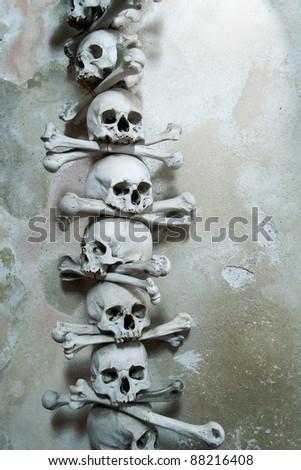 Skulls and bones in the bone chapel in Kutna Hora, Czech Republic