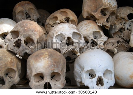 Skulls at the killing fields, Cambodia