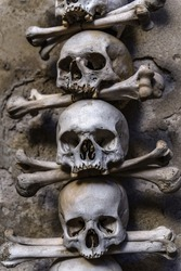 Skulls Displayed in an Chapel Ossuary