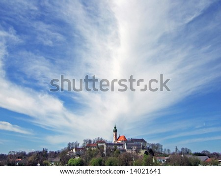 sky above Andechs monastery, Bavaria - stock photo