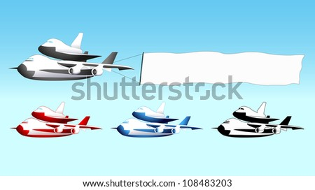 Sky advertising, shuttle carrier aircraft with blank banner, different colors