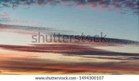 Sky after sunset with atmospheric clouds #1494300107