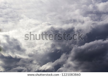 Sky air background with gray fluffy clouds and heaven atmosphere light  #1221083860