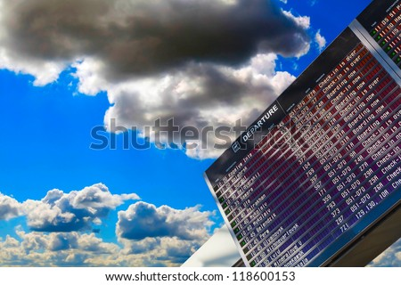 sky, Airport flight schedule with the list of flights