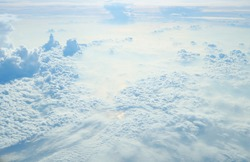Sky and beautiful cloud top view at high maters above sea level for wallpaper