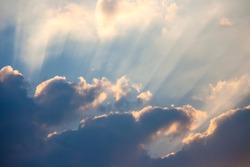 Sky and cloud with sunray, sunbeam
