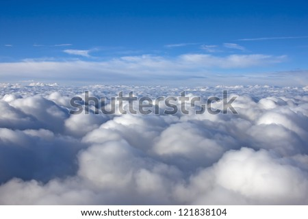 Sky and clouds. Plane view from the window
