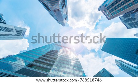 sky and exterior glass wall modern buildings