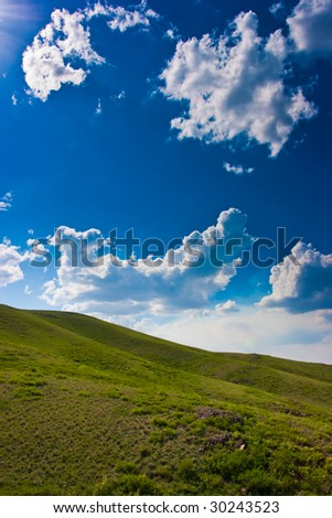 Sky and hills background photo