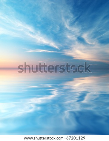 Sky background and water reflection. Element of design. #67201129