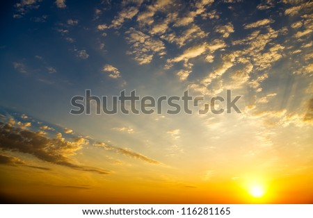 Sky background on sunrise. Nature composition.