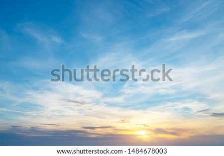 Photo of  Sky background on sunset. Nature abstract composition