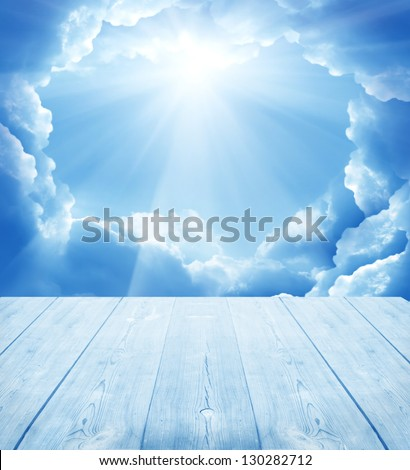 sky background with wooden planks