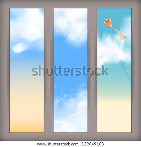 Sky banners with white fluffy clouds, blur, flying kite and space for text at the backdrop in blue and beige pastel colors. Vertical background design. Vector file in my portfolio
